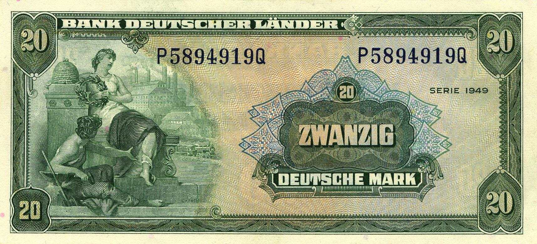 20 Deutsche Marks banknote - Bank Deutcher Länder 1949