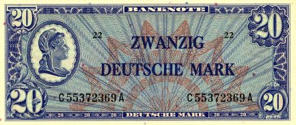 20 Deutsche Marks banknote type Liberty - Bank Deutcher Länder