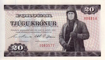 20 Faroese Kronur banknote - Shephard