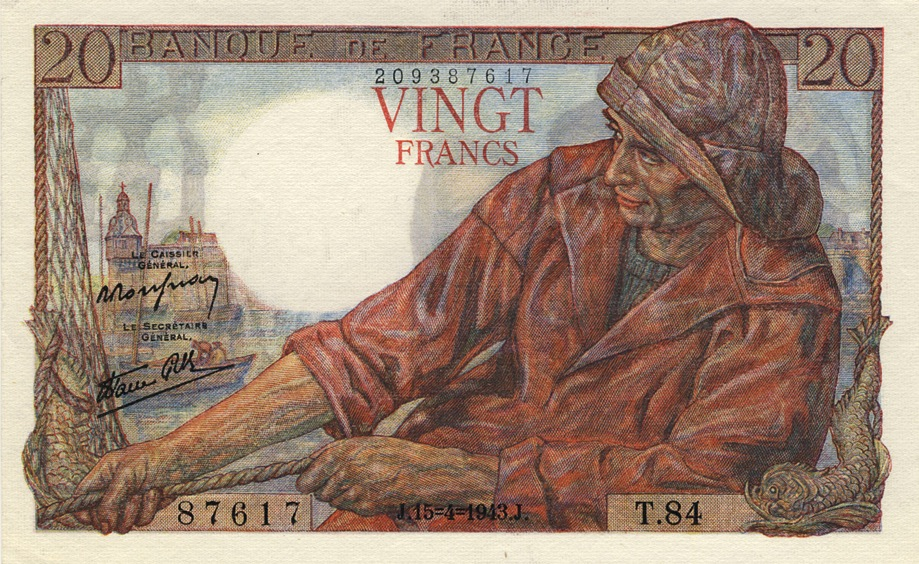 20 French Francs banknote - Pêcheur (fisherman)