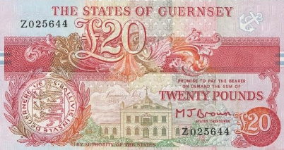 20 Guernsey Pounds banknote - Admiral Lord James Saumarez