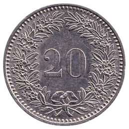 20 Rappen coin Switzerland obverse accepted for exchange
