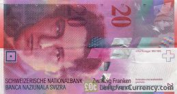 20 Swiss Francs banknote Arthur Honegger 8th series obverse accepted for exchange