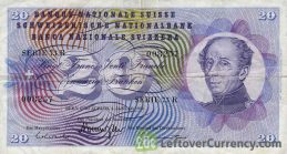 20 Swiss Francs banknote General Guillaume Henri Dufour 5th series obverse accepted for exchange