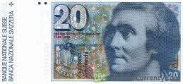 20 Swiss Francs banknote Horace Benedict de Saussure 7th series obverse accepted for exchange
