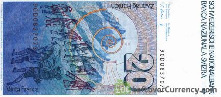 20 Swiss Francs banknote Horace Benedict de Saussure 7th series reverse accepted for exchange