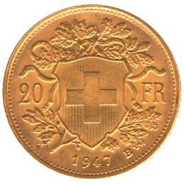 20 Swiss Francs coin vreneli obverse accepted for exchange
