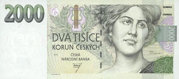 2000 Czech Koruna banknote series 1996