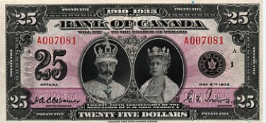 25 Canadian Dollars banknote - Windsor Castle series 1935