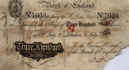 300 British Pounds banknote - white note