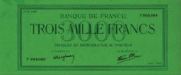 3000 French Francs banknote - Green uniface 1938