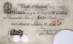 40 British Pounds banknote - white note