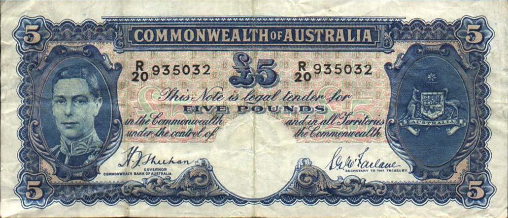 5 Australian Pounds banknote