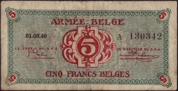 5 Belgian Francs banknote - Armée Belge