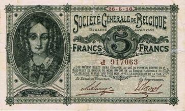 5 Belgian Francs banknote - Societe Generale