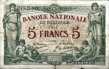 5 Belgian Francs banknote - type Bruxelles