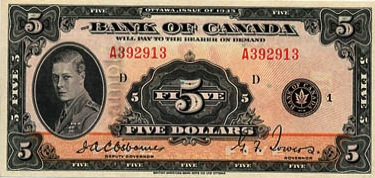5 Canadian Dollars banknote - Edward Prince of Wales series 1935