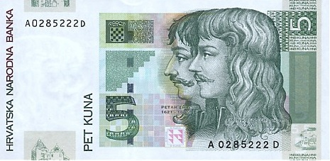 5 Croatian Kuna banknote series 2001