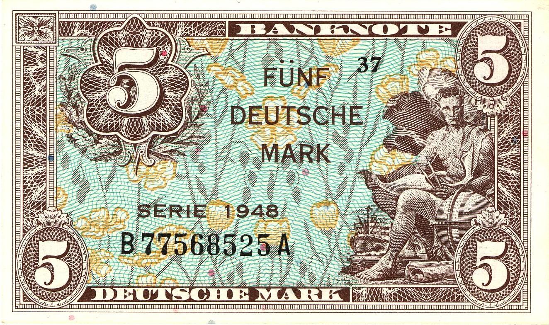 5 Deutsche Marks banknote - Bank Deutcher Länder 1948