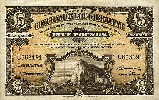 5 Gibraltar Pounds banknote - Rock of Gibraltar series