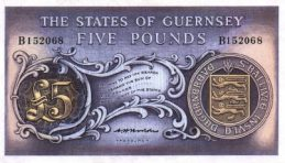 5 Guernsey Pounds banknote - Town sea front