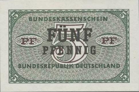 5 Pfennig banknote Germany - Bundeskassenschein