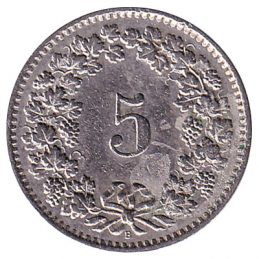 5 Rappen coin Switzerland pre-1980 obverse accepted for exchange