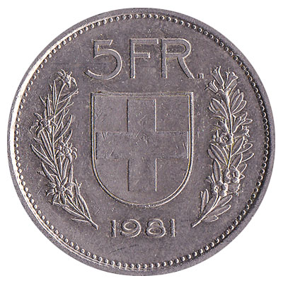 5 Swiss Francs coin obverse accepted for exchange