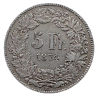 5 Swiss Francs coin - outmoded