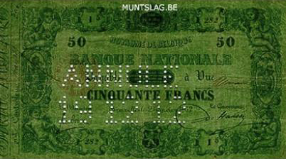 50 Belgian Francs banknote - type 1851 green paper