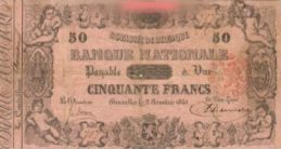 50 Belgian Francs banknote - type 1851 pink paper