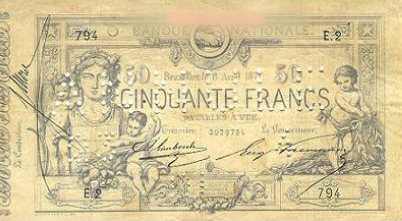 50 Belgian Francs banknote - type 1869