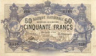 50 Belgian Francs banknote - type 1887
