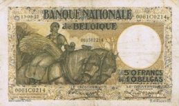 50 Belgian Francs banknote - type Anto-Carte