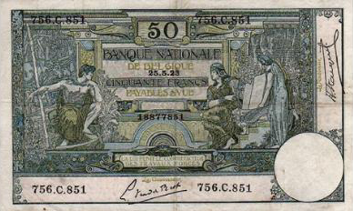 50 Belgian Francs banknote - type Montald