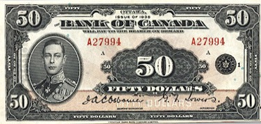 50 Canadian Dollars banknote series 1935
