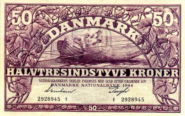 50 Danish Kroner banknote 1944-1946 issue
