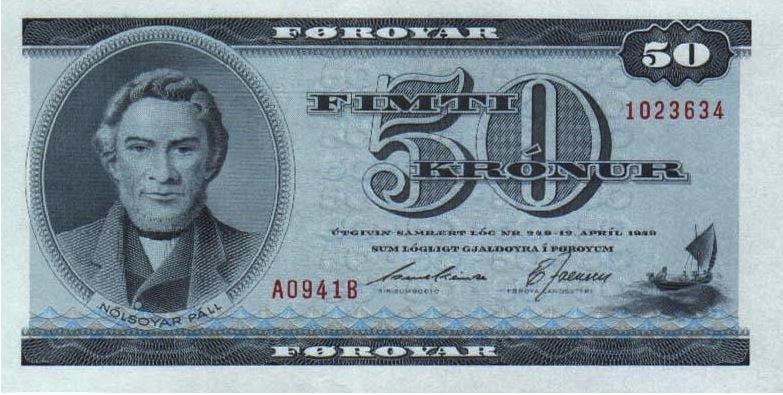 50 Faroese Kronur banknote - Nolsoyar Pall
