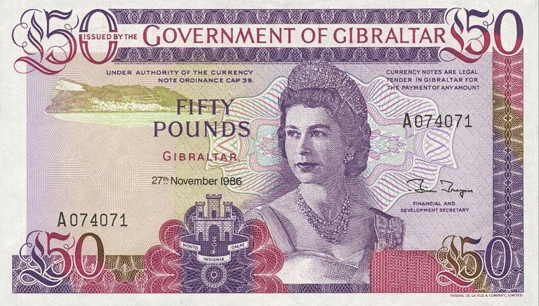 50 Gibraltar Pounds banknote - Rock of Gibraltar