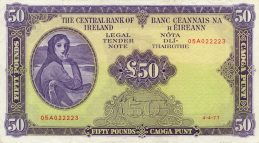 50 Irish Pounds banknote - Lady Hazel Lavery
