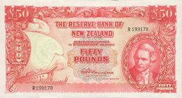 50 New Zealand Pounds banknote - James Cook
