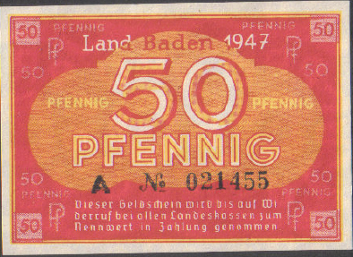 50 Pfennig banknote Germany - Land Baden 1947