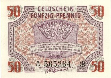 50 Pfennig banknote Germany - Rheinland-Pfalz 1947