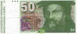 50 Swiss Francs banknote Konrad Gessner 7th series obverse accepted for exchange
