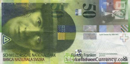 50 Swiss Francs banknote Sophie Taeuber Arp 8th series obverse accepted for exchange