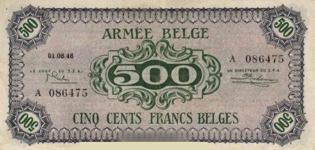 500 Belgian Francs banknote - Armée Belge
