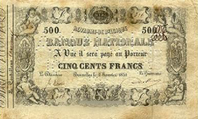 500 Belgian Francs banknote - type 1851