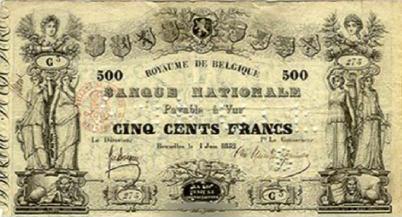 500 Belgian Francs banknote - type 1852