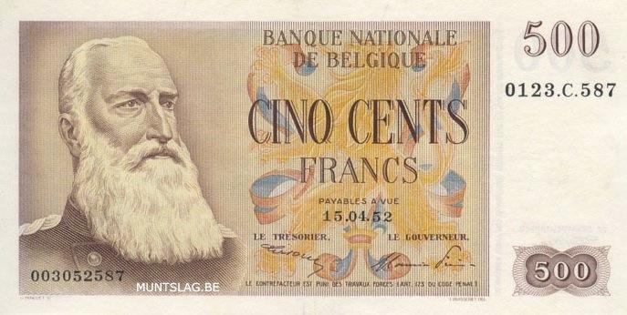 500 Belgian Francs banknote - type Centenaire