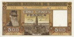 500 Belgian Francs banknote - type Dynastie